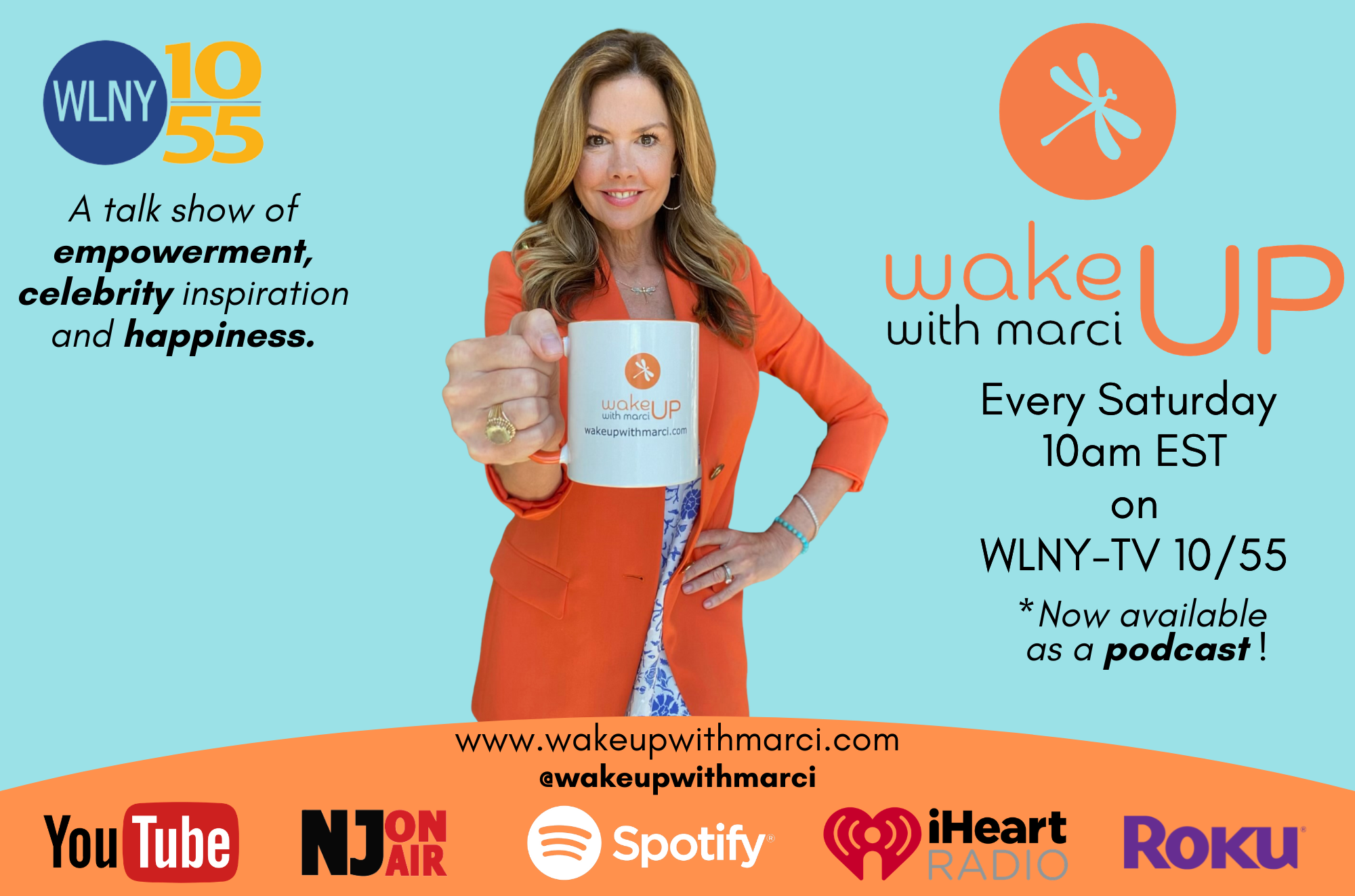 Picture of Marci Hopkins - Wake up with Marci, a talk show of empowerment, celebrity inspiration and happiness. Final Revision of wake up ad for Bella.